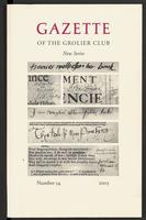 Gazette of the Grolier Club New Series No. 54