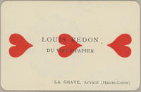 Louis Redon Trade Card, Three of Hearts
