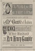 Gamble Library Bookplate