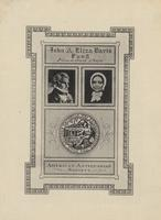 Eliza Davis and John Davis Bookplate