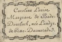 Caroline Louise, Margrave de Bade Bookplate