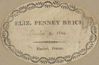 Eliz. Penney Brice Bookplate