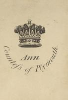 Ann Countess of Plymouth Bookplate