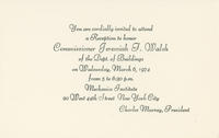 Invitation Honoring DOB Commissioner Jeremiah F. Walsh, 1974