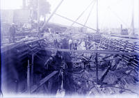 Blackwells Island Bridge, Pier 3 Bottom of Pit Men Working