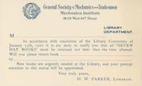 GSMT Library 'Seven Day Books' Notice Card