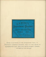 President Andrew Johnson Impeachment Trial Ticket