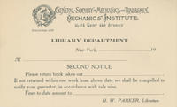 GSMT Library 'Second Notice' Card