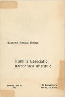 AAMI Annual Dinner Menu, 1912