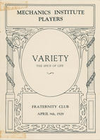 Mechanics' Institute Players Fraternity Club Program