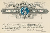 Chautauqua Literary and Scientific Circle Student Card, 1882