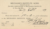 Mechanics' Institute News Subscription and Ad Contract Cards, 1919
