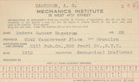 A. G. Hagstrom Mechanics' Institute Registration Card