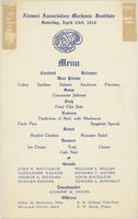 AAMI Annual Dinner Menu, 1910