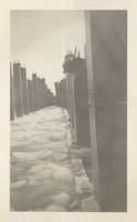 Construction of Pier, circa 1934, ice flows