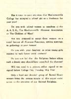 Letter of Protest, Anonymous Alumni Mailing May 1938