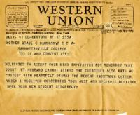 Telegram of Support, May 17, 1938