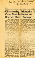 "St. Louis Catholic ""Christianity Triumphs Over Snobbishness at Sacred Heart College"""