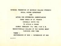 "Interracial Justice Week 1963, Forum Invitation, ""A Forum on the Fatherhood of God and the Brotherhood of Men"""