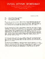 Interracial Justice Week Kit 1964, Letter, Barbara Lyons to Student Government Presidents