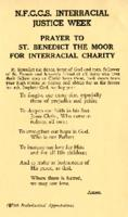 Interracial Justice Week 1961, Prayer Card, Prayer to St. Benedict the Moor