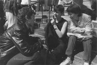 Lesbian Herstory Archives' volunteers on the steps of Barnard College