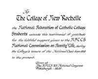 Calligraphic tribute created for College of New Rochelle