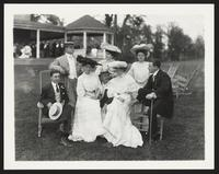 Baltimore Horse Show, unidentified men and women sitting outside, undated [circa 1900-1910].