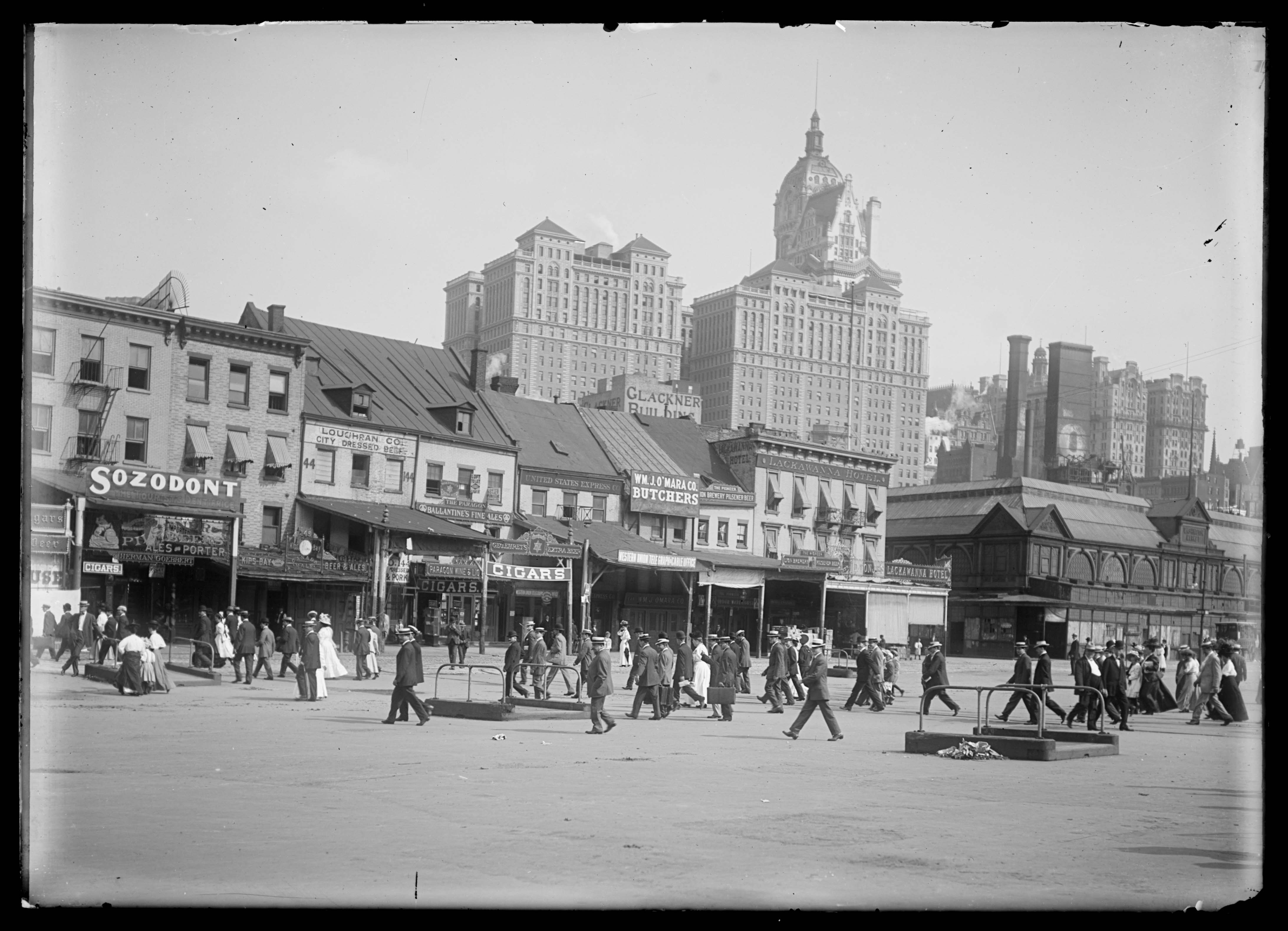 View Of West Street Showing Washington Market And The Lackawanna Hotel New York City 1909