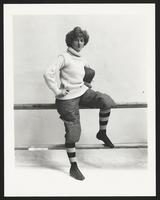 Bonnie Maginn dressed as football player, undated [circa 1900-1910].