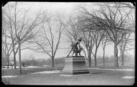 Indian hunter and dog statue in Central Park, New York City, undated (ca. 1890-1919).