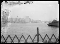 Battery Park seen from a ferry in New York harbor, New York City, undated (ca. 1890-1919).