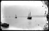 Replicas of Spanish caravels in the Hudson River, New York City, undated (ca. 1909).