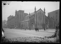 Temple Israel (the former Holy Trinity Episcopal Church of Harlem), northwest corner of Fifth Avenue and 125th Street, New York City, 1905. Emulsion damage.