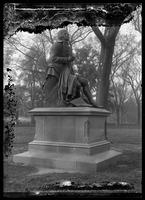 Statue of Robert Burns in Central Park, New York City, undated (ca. 1880-1919). Emulsion damage.