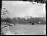 Bow Bridge in Central Park, New York City, undated (ca. 1882-1919). Emulsion damage.