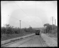 Bergen County interurban trolley car marked Ferry, unidentified location in New Jersey, undated (ca. 1882-1919).