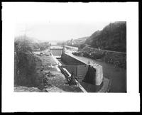 Copy photograph of an unidentified lock in the New York State Barge Canal, undated (ca. 1918-1919?).