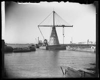 Derrick in the North River (Hudson River) at Vesey Street, New York City, April 5, 1890.