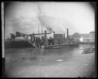 Dredge, North River (Hudson River) at Vesey Street, New York City, April 5, 1890.
