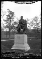 Statue of Fitz Greene Halleck, Central Park, New York City, undated (ca. 1882-1919). Emulsion damage.