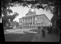 Massachusetts State House, Boston, Massachusetts, 1899. Emulsion damage.