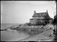 Unidentified house on the cove, Marblehead Neck, Massachusetts, 1901. Emulsion     damage.