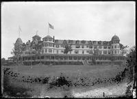 Unidentified hotel, Marblehead Neck, Massachusetts, 1901. Emulsion     damage.