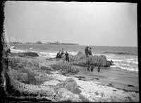 Beachgoers and tourists, Marblehead Neck, Massachusetts, 1901. Emulsion     damage.