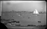 The yacht 'Laska' and the harbor, Marblehead Neck, Massachusetts, August 8,     1892.