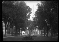 Brown Square, with the statue of William Lloyd Garrison and the Central     Congregational Church, Newburyport, Massachusetts, July 1898.