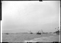 Unidentified yachts at the start of an ocean race (probably the Americas Cup),     September 7, 1895.