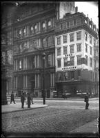 212 & 214 Broadway at Fulton Street, New York City, 1901. Kiosk with sign for     George P. Hall & Sons, photographers, visible between the buildings.