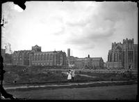 Campus and sports field, City College of New York, New York City, undated (ca.     1906-1919). Emulsion damage.